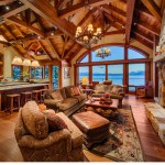 Old Growth Bavarian Elm with Custom Stain, Private Residence Lake Tahoe, Copyright Vance Fox
